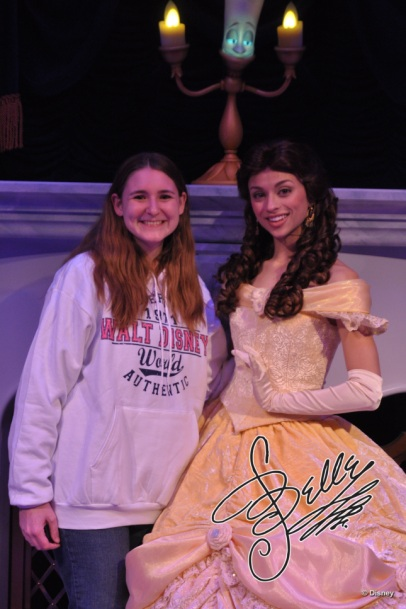 Belle - my favorite! I have met her the most times. This is at Enchanted Tales with Belle, but also at Akershus, Cinderella's Table, and in Epcot's France.