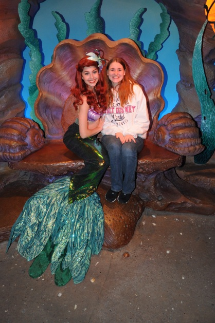 Ariel - you can see her with her fin now in Ariel's Grotto!  I've also met her in her dress at Cinderella's Table and Akershus.