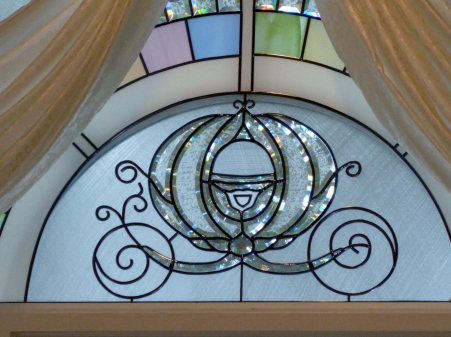 Stained glass inside the wedding pavilion