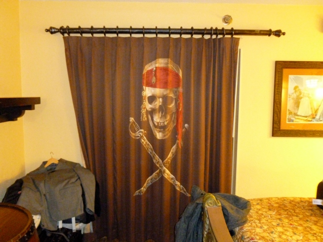The curtain to the bathroom area is pirate themed too.