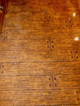 Even the floor carpet is designed to look like wooden planks!