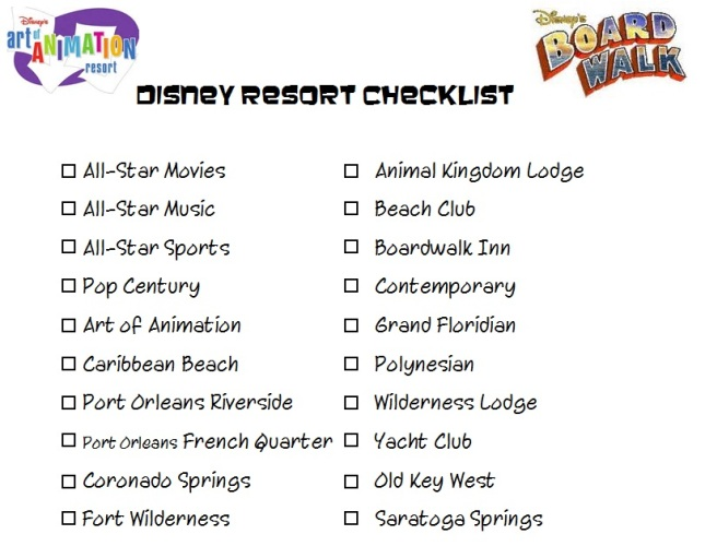 Disney Resort Checklist - Disney in your Day
